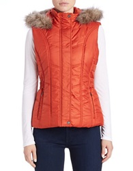 Weatherproof Faux Fur Trimmed Vest Orange