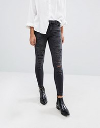 Only Ultimate Mid Waist Ankle Grazer Skinny Jeans With All Over Rips Dark Grey Denim
