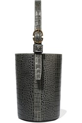 Trademark Small Croc Effect Leather Bucket Bag Gray