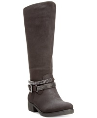 Style And Co. Wardd Tall Wide Calf Moto Boots Only At Macy's Women's Shoes Brown
