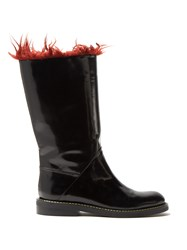 Marni Faux Fur Trimmed Leather Boots Black