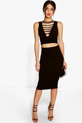 Boohoo Jersey Midi Length Tube Skirt Black