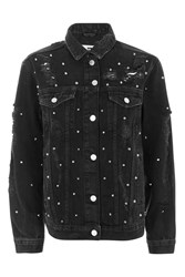 Topshop Moto Studded Oversized Jacket Washed Black