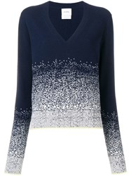 Barrie Cashmere V Neck Sweater Blue