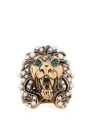 Gucci Crystal And Pearl Embellished Lion Ring