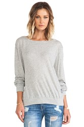 Wildfox Couture Varsity Basic Tissue Jersey Baggy Beach Jumper Gray