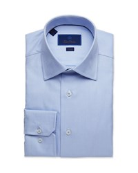 David Donahue Trim Fit Tonal Twill Dress Shirt Blue