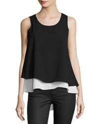 P. Luca Chiffon Layered Tank Top Black White