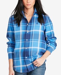 Polo Ralph Lauren Relaxed Fit Plaid Shirt Lake Blue Navy