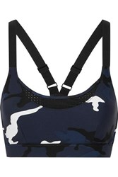 The Upside Kristi Camouflage Print Cutout Stretch Sports Bra Navy
