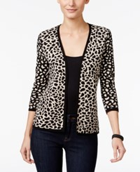 Jm Collection Petite Cheetah Print Flyaway Cardigan Only At Macy's Deep Black Combo