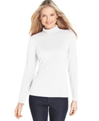 Style And Co. Long Sleeve Mock Turtleneck Winter White