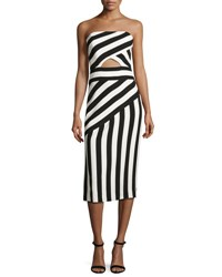 Milly Striped Strapless Cutout Dress Black White Black White