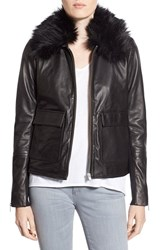 Trouve Women's Trouve Leather Jacket With Faux Fur Collar