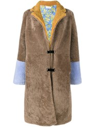 Saks Potts Long Shearling Coat Brown