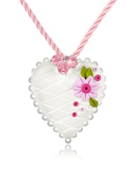 Dolci Gioie Sterling Silver White Heart Cake Necklace