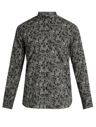 Saint Laurent Paisley Print Cotton Shirt Black Multi