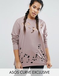Asos Curve Longline Longsleeve T Shirt With Nibble Detail Mink Pink