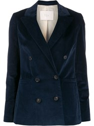Tela Double Breasted Fitted Blazer Blue