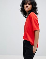 B.Young Boat Neck Blouse Tomato Red