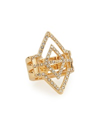 Panacea Golden Rhinestone Diamond Shape Ring Adjustable Size 6