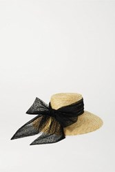 Eugenia Kim Annabelle Swiss Dot Tulle Trimmed Straw Hat Yellow