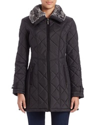 Weatherproof Faux Fur Collared Quilted Coat Black