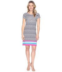 Hatley Tee Shirt Dress Ikat Color Block Stripes Women's Dress Gray