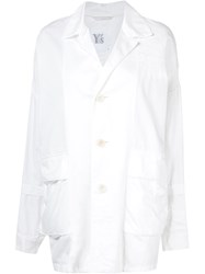 Y's Distressed Effect Blazer White