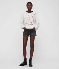 Allsaints Linel Storn Cropped Sweatshirt Ivory White