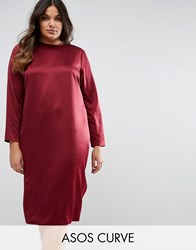Asos Curve Midi Dress In Satin With Open Back Winter Wine Red