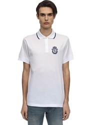Billionaire Crest Embroidered Cotton Jersey Polo White