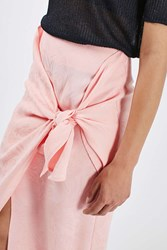 Boutique Jacquard Tie Front Skirt By Pink