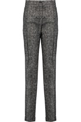 Michael Kors Collection Checked Wool Straight Leg Pants Gray