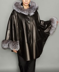The Fur Vault Plus Size Fox Trim Leather Cape Black Silver