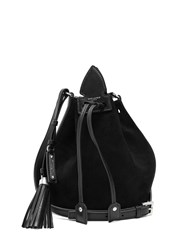 Saint Laurent Anja Tassel Suede And Leather Bucket Bag Black