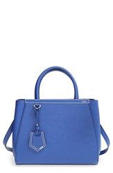 Fendi 'Petit 2Jours Elite' Leather Shopper Blue Neon Blue