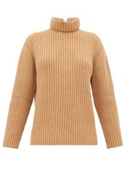 Loewe Faux Pearl Embellished High Neck Cashmere Sweater Beige