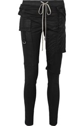 Rick Owens Memphis Shell Paneled Coated Stretch Denim Leggings Black