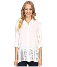 Dylan By True Grit Washed Vintage Cotton Mia Blouse With Lace Hem White Women's Blouse