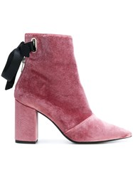 Robert Clergerie Karlit Boots Leather Velvet Pink Purple
