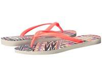 Havaianas Slim Tribal Flip Flops White Orange Women's Sandals