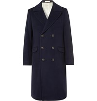 Massimo Alba Double Breasted Virgin Wool Overcoat Blue