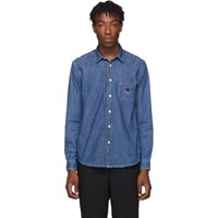 Kenzo Navy Denim Tiger Crest Shirt