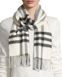 Burberry Giant Check Cashmere Scarf Natural White