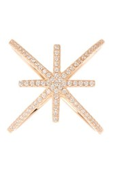 18K Rose Gold Plated Sterling Silver Cz Star X Ring Pink