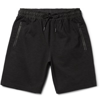 Burberry Shell Trimmed Cotton Blend Jersey Shorts Black