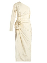 Lanvin One Shouldered Taffeta Dress Ivory
