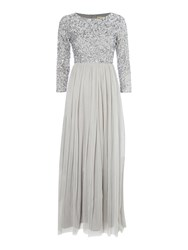 Lace And Beads Long Sleeve Maxi Light Grey