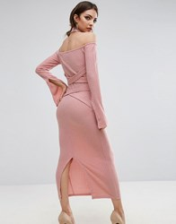 Lavish Alice Rib Knit High Neck Wrap Around Belt Midi Dress Dusty Pink